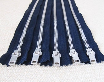 12inch - Navy Blue Metal Zipper - Silver Teeth - 5pcs