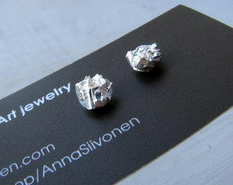 Rough cut silver stud earrings titanium posts