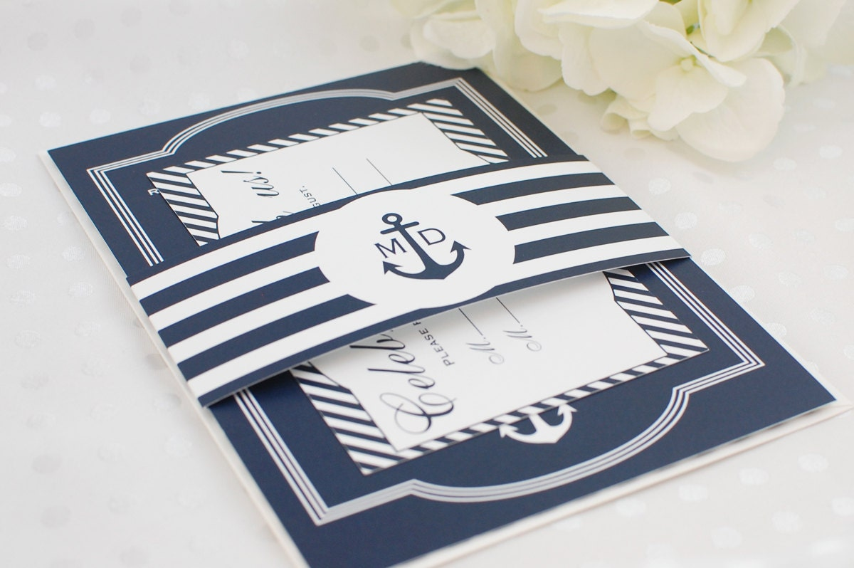 Sailboat Wedding Invitations: Nautical Wedding Invitation // Deposit By LeslieEStationery