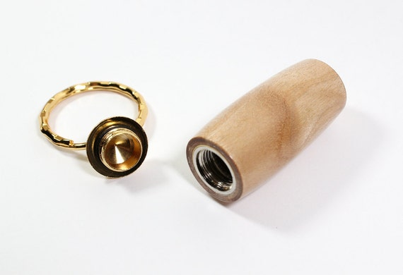 Figured Maple Pill Holder Key Chain with 24K Gold Accents and Gift Box