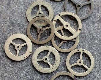 Vintage clock brass gears -- set of 10 -- D2