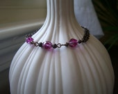 25% Off COUPON CODE-Clearance Sale - Fuchsia and Brass, Double Chain Stacking Bracelet