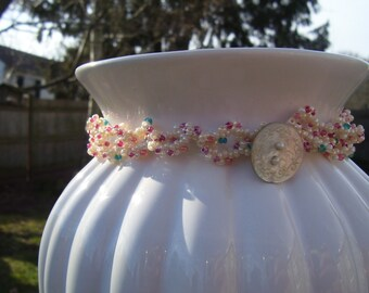 Ruffled Handwoven Wrap Style Beaded Bracelet Stack Pink Aqua Turquoise Button Shell Wedding Gift Summer