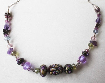 Lavender Lamp Work Necklace on Sterling Chain