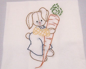 Bunny Dish Towel - Tea Towel - Kitchen Towel - Bunny Boy with a Carrot - Hand Embroidered - Cotton - Flour Sack