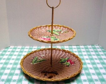 Two Tiered Serving Tray - Made in Japan by Tilso - Basket Weave Pattern - 1960s