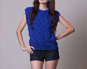 80s Sweater Tank - Vintage Blue Sweater - Knobby Sweater - Royal Blue - Medium