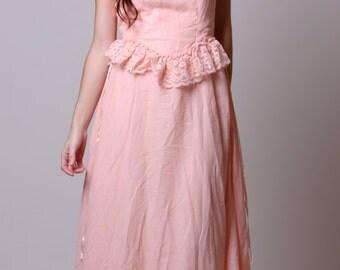 Small / Medium - Gunne Sax Vintage Peach Dress - 70s Lace and Sheer Dress