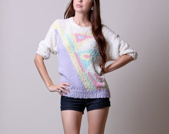 Medium / Large - 80s Slouchy Sweater - Vintage Pastel Geometric Design Sweater - Lavender Aqua Pink