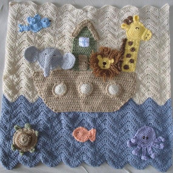 Crocheted Noah's Ark Baby Blanket, Noah's Ark Nursery Decor, Religious Baby Gift, Crib Blanket, Wall Hanging, High Quality, Best Seller