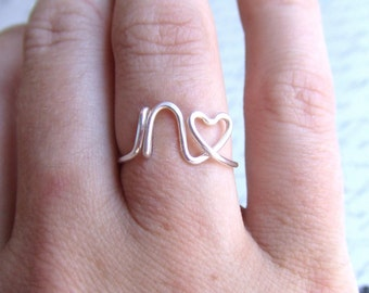 Initial Ring With Heart Any Letter Gold Silver or Copper, Personalized Bridesmaid Ring, Thank You Bridesmaid Gift Friendship Ring Under 10
