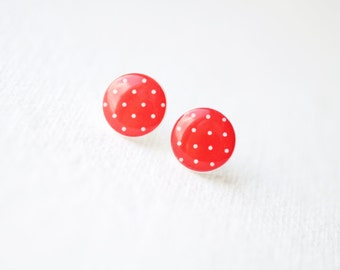 Red and White Polka Dot Stud Earrings - BUY 2 GET 1 FREE