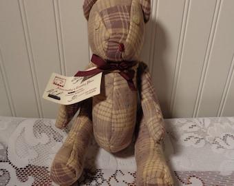 Vintage Quilt Teddy Bear  -  Primitive Quilt Teddy Bear  -  13-1041