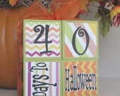 Days to Halloween Countdown Wooden Blocks - Halloween Holiday Decoration
