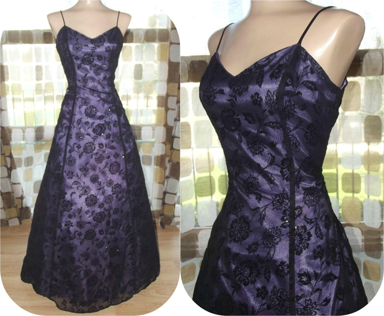 Vintage 90s Purple & Black Flocked Velvet Flowers Gothic Ball