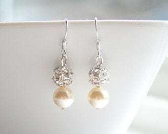 Pave, pearl, silver, bridal, earrings - SILVER PAVE Pearl