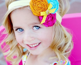 Rosette Baby Headband, Girls Headband, Vintage Inspired Headband, Rolled Rosette Headband, Multicolor headband, Photo Prop NO.14-25