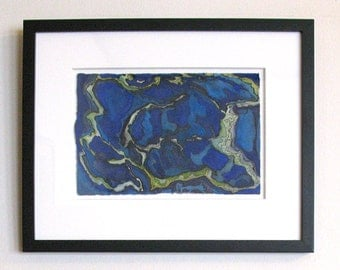 Original watercolor, framed art, blue abstract painting, map inspired, fantasy landscape, Lyonesse