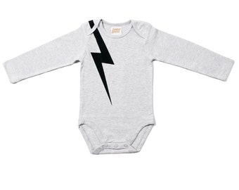 And there was lightning - Organic Long Sleeve Onesie. Organic cotton one piece / bodysuit romper and perfect baby shower gift
