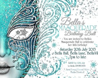 Masquerade Invitation, Mardi Gras Party, Party Invitations, Masquerade Party