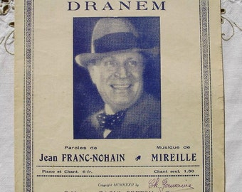 Vintage French 1930's Song / Sheet Music - Dad Wouldn't by Dranem