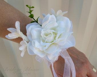 White gardenia wrist corsage Wedding corsages