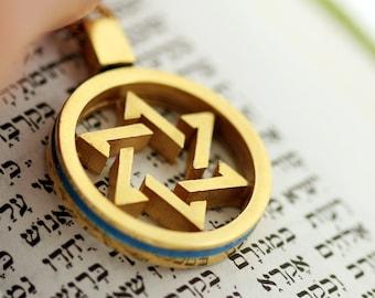 Hanukkah jewelry gift, Star of david pendent gold on silver,Keepsakes,  Jewish Wedding Gift, jewish jewelry