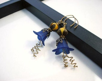 Navy Blue and Gold Earrings, Antique Brass, Vintage Style, Lucite Flower Earrings