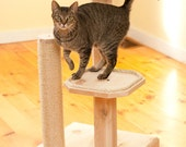Natural Wood 36 Inch Two Level Cat Tree with Cedar Posts and Sisal Rope - Ships FREE