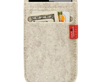 iphone 4S 4 3GS 3G felt wallet case, cover, sleeve, 100,% wool felt Soay SO-4-W