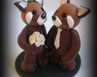 Wedding Cake Topper, Red Panda, Polymer Clay, Custom Wedding/Anniversary Keepsake