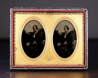 Rare 1/4 Stereo 3D Ambrotype Photo of a Pretty Woman