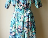 Hawaiian Print Shirt Dress with Matching Belt in Blue, Pink and Turquoise Pastel