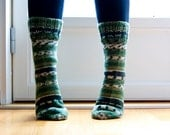 Hand knit striped socks.  Emerald forest green, woodland inspired.