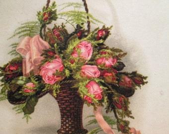Vintage Postcard Victorian Basket - Pink Roses - Ferns - Pink Ribbon - Charming - Ferns