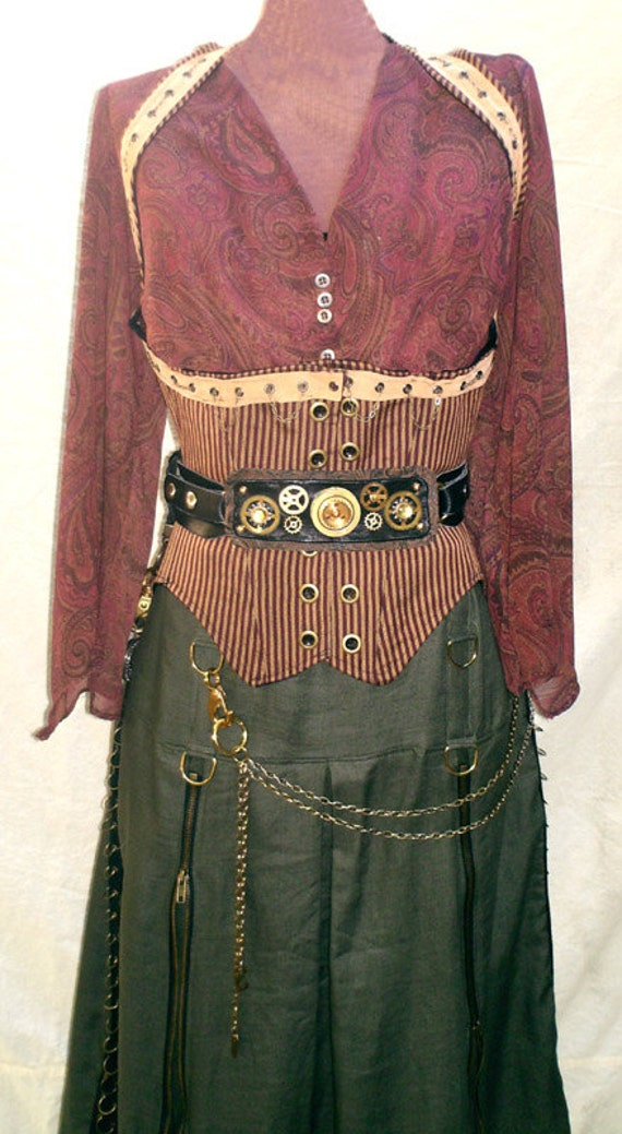 Womens Burning Man Steampunk Corset Vest in Red Wine and Gold Stripes Under bust corset