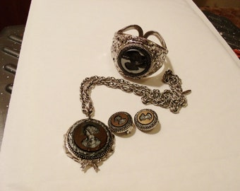 Whiting and Davis Intaglio Cameo Hematite Necklace, Earrings and Bracelet in Silver tone