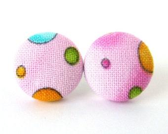 SALE Pink button earrings - bright stud earrings - happy fabric earrings blue green yellow dots