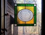 Charming stained glass art gift etched plate stained glass panel window treatment