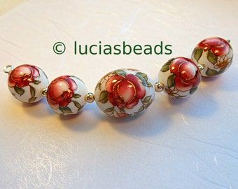 Last Lot Pretty Graduated Red Rose on White Tensha Beads14 x 18 MM and 12 MM (TBRR202)