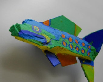 Whimsical Mixed Media Ready to Hang Fish Art - Ready to Hang in Lake House, Bath, Kichen, Kids Room - Colorful Painted Wood