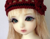 """BJD Beanie Hat with Flower for 6/7"""" head MSD Yosd - Red / Black"""