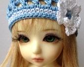 "BJD Beanie Hat with Flower for 6/7"" head MSD YoSD - Blue/White"