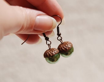 Forest Green Acorn Earrings