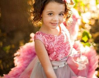 Feather Delight Girls Rosette Dress