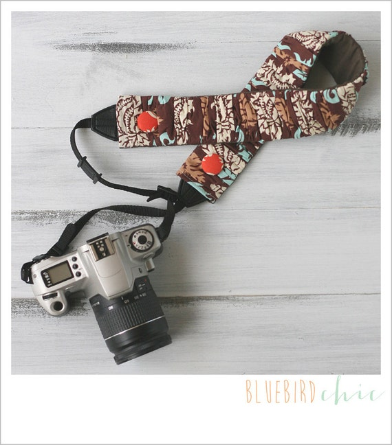 CLOSEOUT SALE - ruched camera strap cover - brown damask