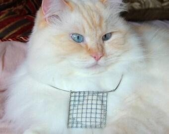WHITE VALENTINE cat hair pendant