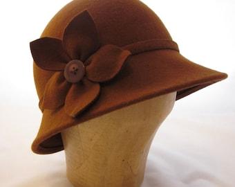 Brown Wool Felt Cloche Hat