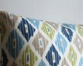 Blue and Green Ikat Pillow Cover - 16 x 16 Ikat Cushion Cover - Ikat Diamonds Lush