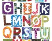 Patchwork Alphabet - Nursery Wall Art print 11x14